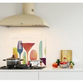 Crédence de cuisine motif couverts colorés