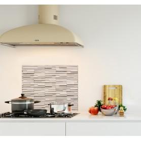 Crédence de cuisine effet mur brique blanche