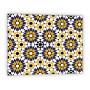 Crédence de cuisine motif fleur géométrique vintage bleu et jaune