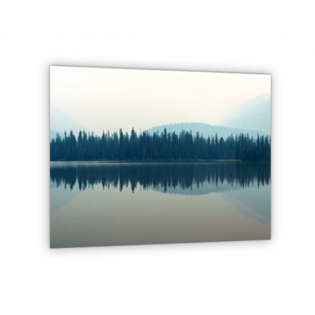 Crédence de cuisine paysage avec brouillard lac montagne
