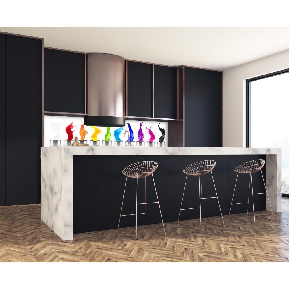 Crédence peinture colorée - Verre et alu - Credence Cuisine Deco