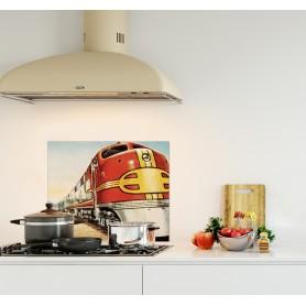 Crédence de cuisine train avec rame rouge et jaune