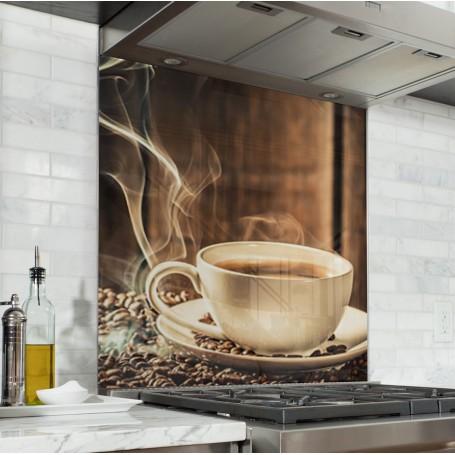 Fond de hotte tasse de café chaud avec grain