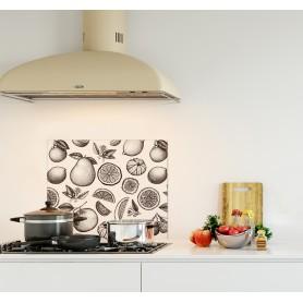 Crédence de cuisine effet vintage avec dessins de fruits