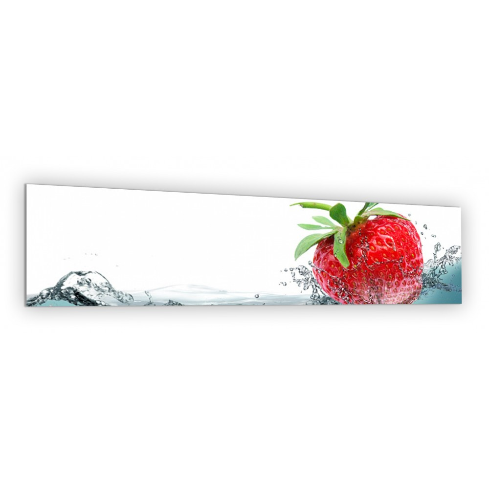 cr dence fraise dans l 39 eau verre et alu credence cuisine deco. Black Bedroom Furniture Sets. Home Design Ideas