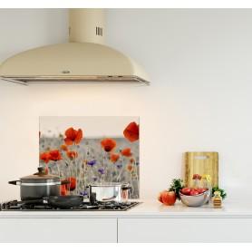 Crédence de cuisine noir et blanc champ de coquelicots rouges