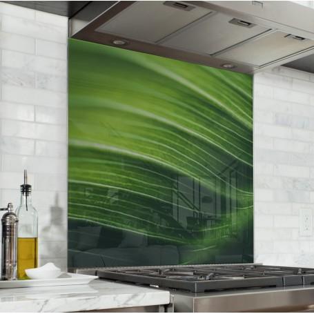Fond de hotte avec feuille de bambou vert