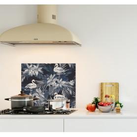 Crédence de cuisine indigo avec flamants roses