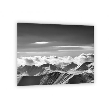 Crédence de cuisine panoramique montagne noir et blanc