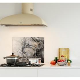 Crédence de cuisine effet marbre argent et noir