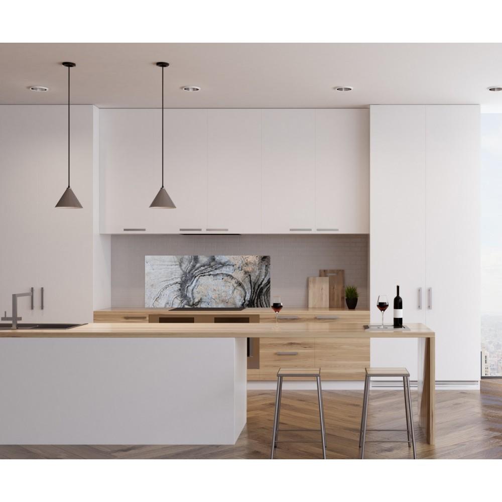 Crédence effet marbre argent - Verre et alu - Credence Cuisine Deco