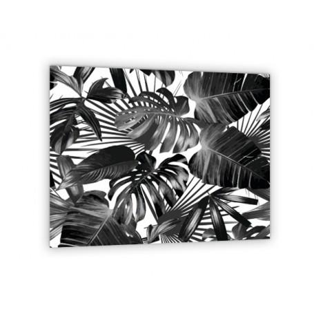 Crédence de cuisine feuilles tropicales noir et blanc