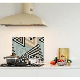 Crédence de cuisine avec motif triangles turquoise, camel et blanc