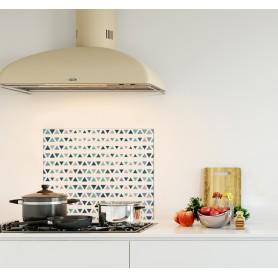 Crédence de cuisine motif triangles style scandinave bleu marine, bleu clair et blanc