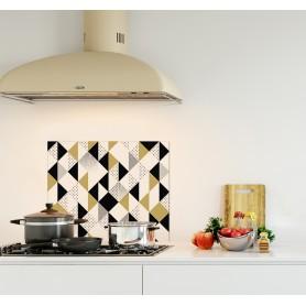 Crédence de cuisine motif triangles noir or et blanc