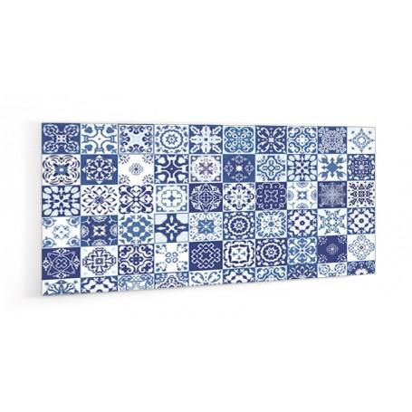 Crédence de cuisine effet carreaux mosaïque bleu marine, bleu ciel, blanc