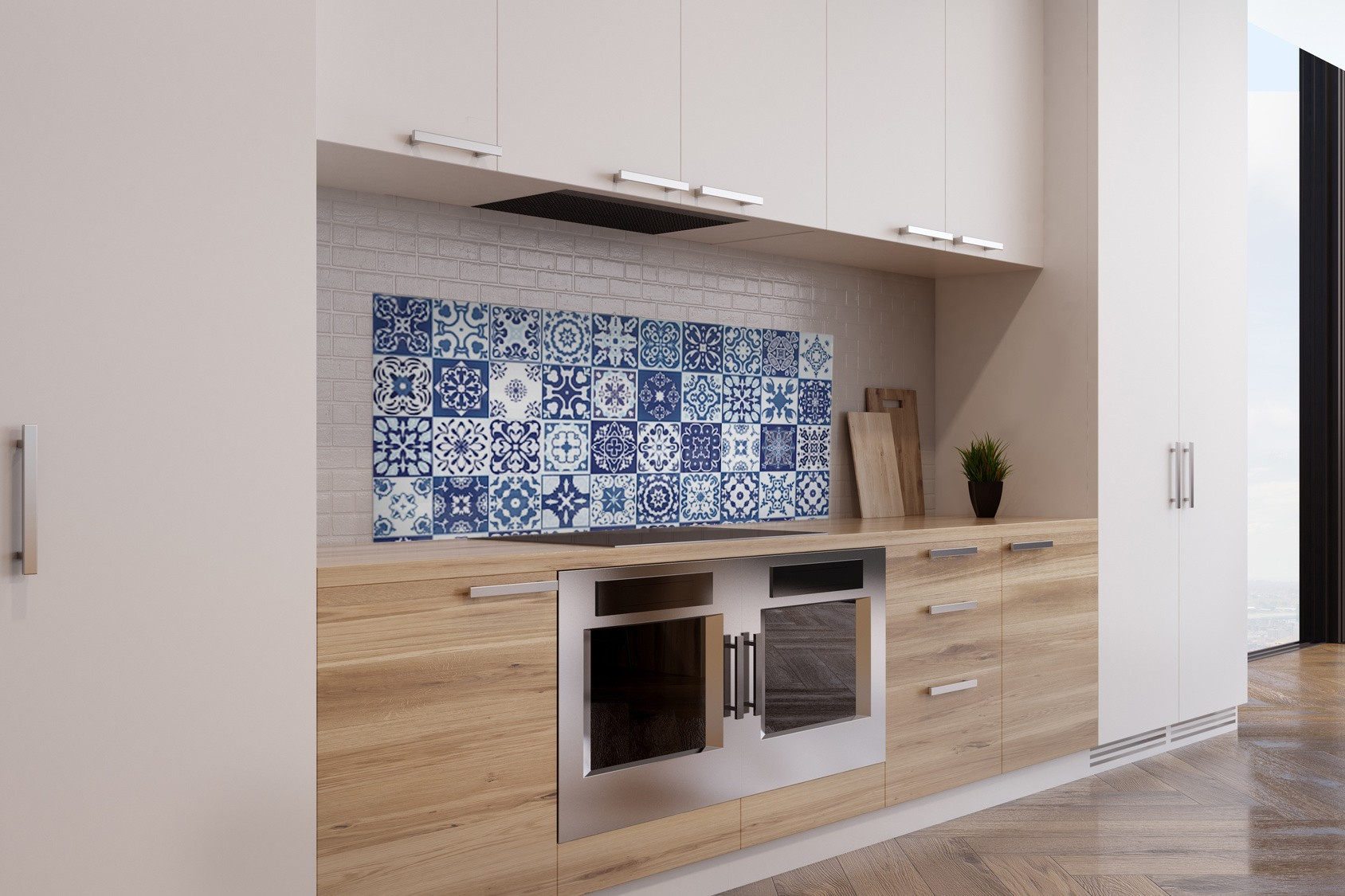 Cr dence effet mosa que bleue verre et alu credence - Mosaique cuisine credence ...