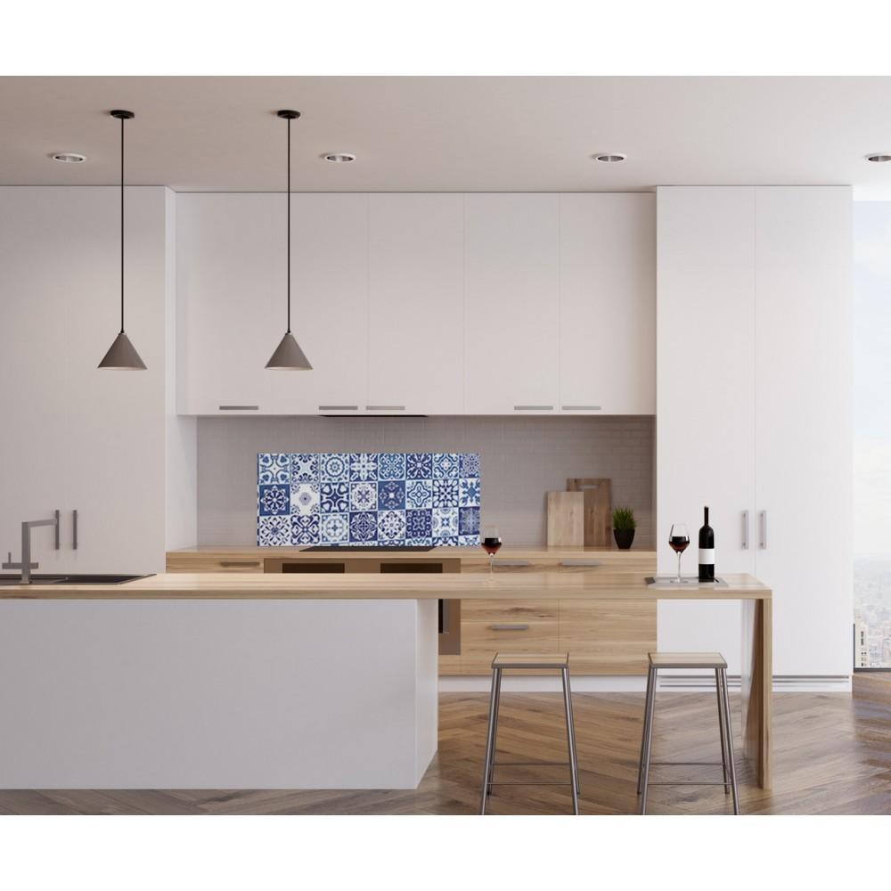 cr dence effet mosa que bleue verre et alu credence cuisine deco. Black Bedroom Furniture Sets. Home Design Ideas