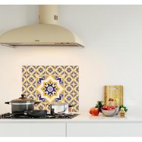 Crédence de cuisine effet carreaux de ciment vintage bleu et jaune