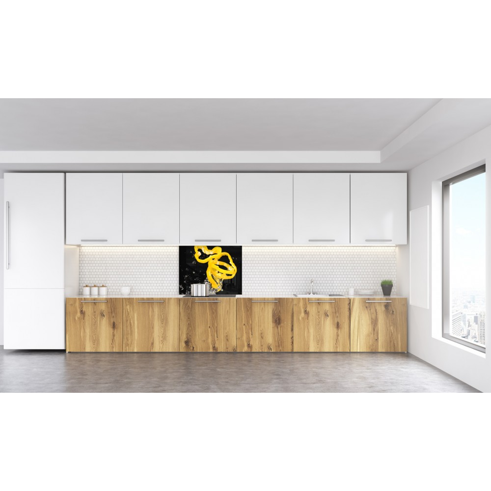 fond de hotte poivron jaune verre et alu credence cuisine deco. Black Bedroom Furniture Sets. Home Design Ideas