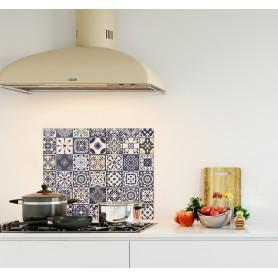 Crédence de cuisine effet carreaux ciments mosaïque bleu et jaune