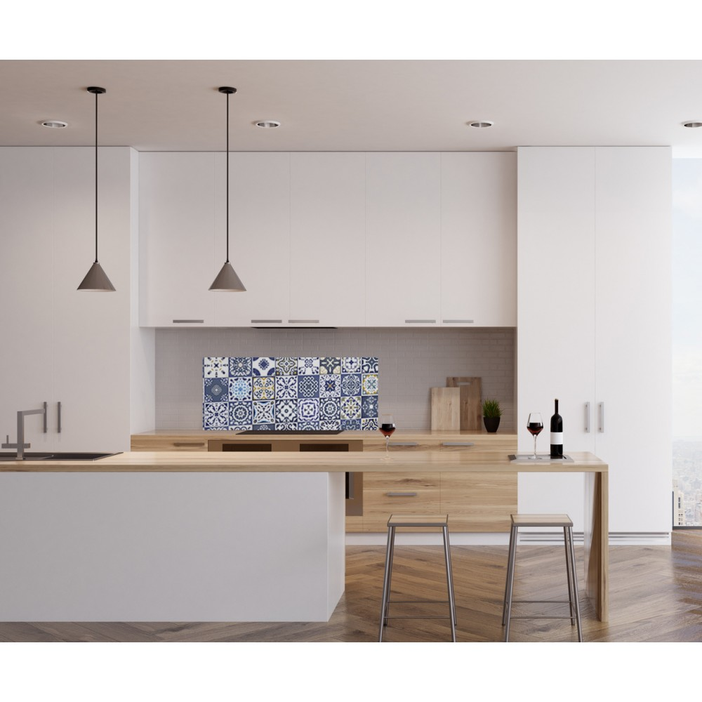 cr dence effet mosa que bleu jaune verre alu credence cuisine deco. Black Bedroom Furniture Sets. Home Design Ideas