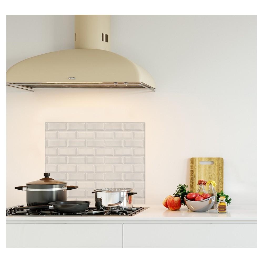 Cr dence effet briques blanches verre et alu credence for Carreaux de cuisine