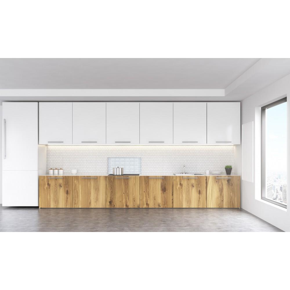Cr dence effet briques blanches verre et alu credence cuisine deco - Credence cuisine metro ...
