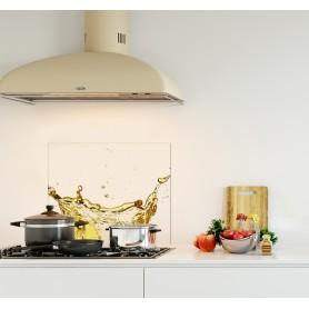 Crédence de cuisine blanc avec éclaboussures jus de fruits orange et vert