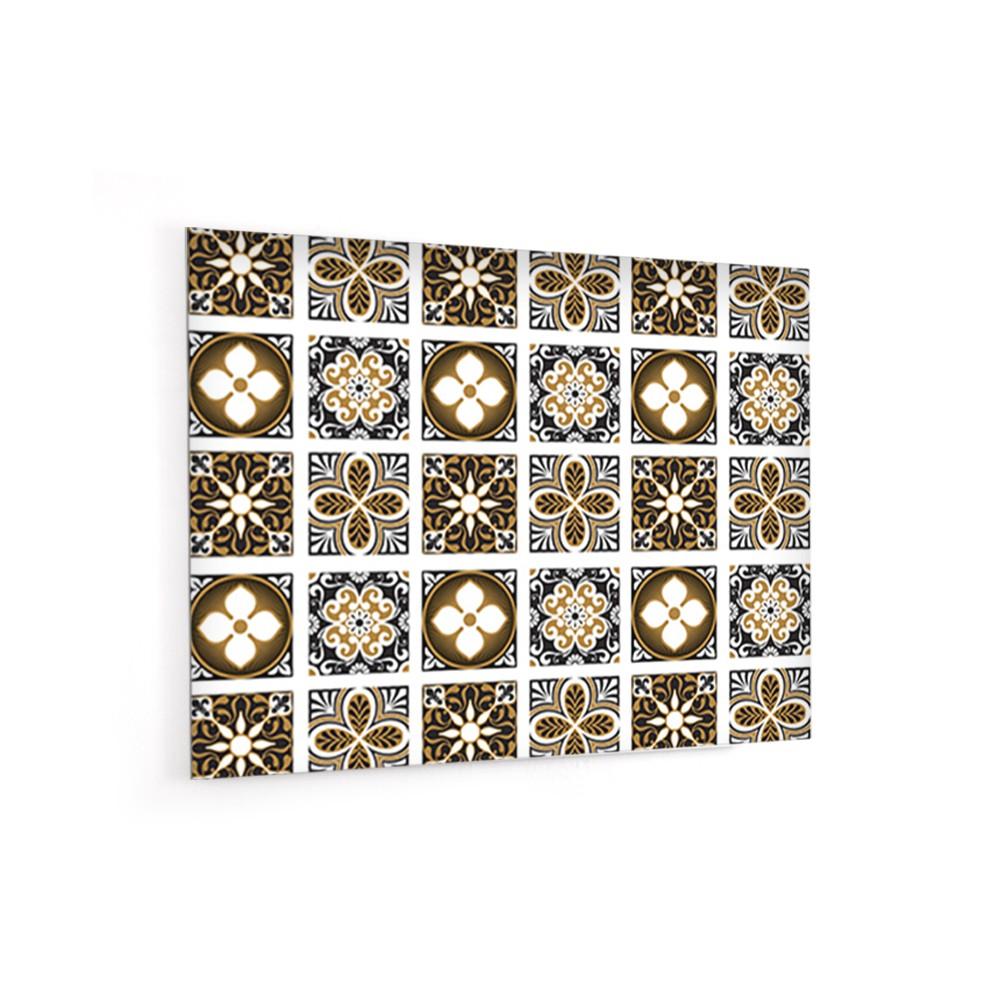 Fond de hotte motif carreaux ciment verre et alu for Motif carreaux ciment
