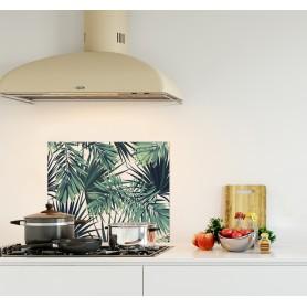 Crédence de cuisine motif feuilles de jungle