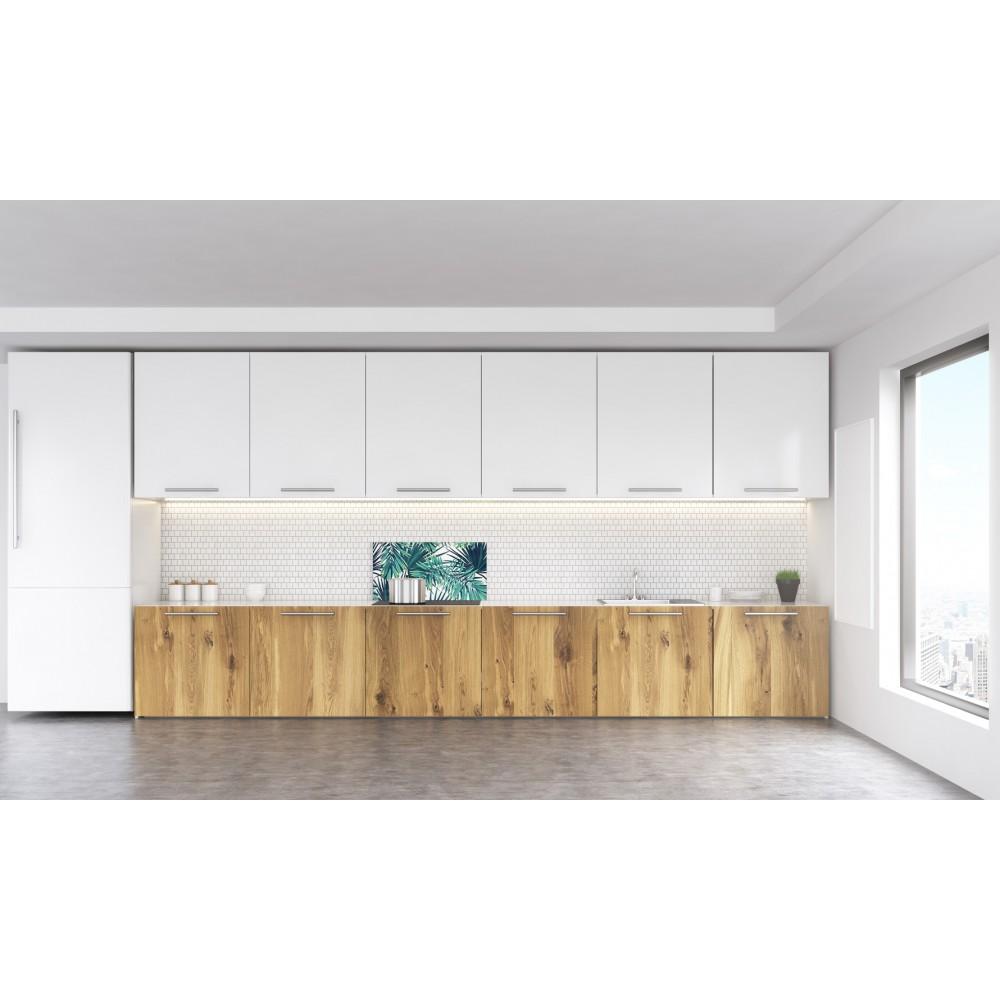 cr dence tropicale feuilles vertes verre alu credence cuisine deco. Black Bedroom Furniture Sets. Home Design Ideas