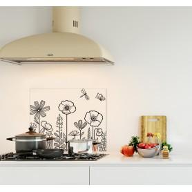 Crédence de cuisine blanche avec motif floral noir