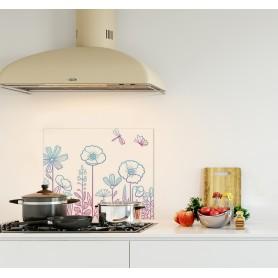 Crédence de cuisine blanche avec motif floral dégradé bleu et rose