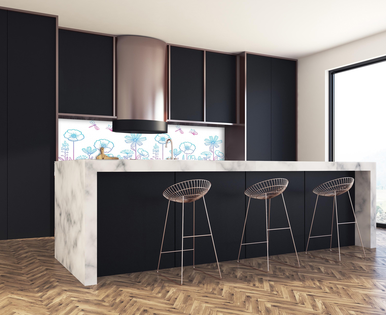 cr dence fleurs bleu et rose verre et alu credence cuisine deco. Black Bedroom Furniture Sets. Home Design Ideas