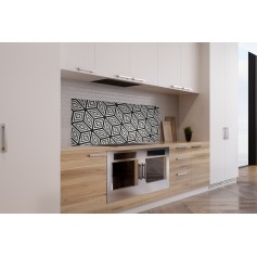 Crédence de cuisine motif cube noir et blanc