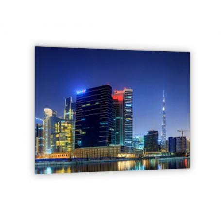 Crédence de cuisine vue panoramique de Dubai la nuit avec immeubles
