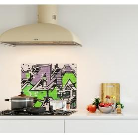 Crédence de cuisine effet street-art, graffiti vert fluo et gris