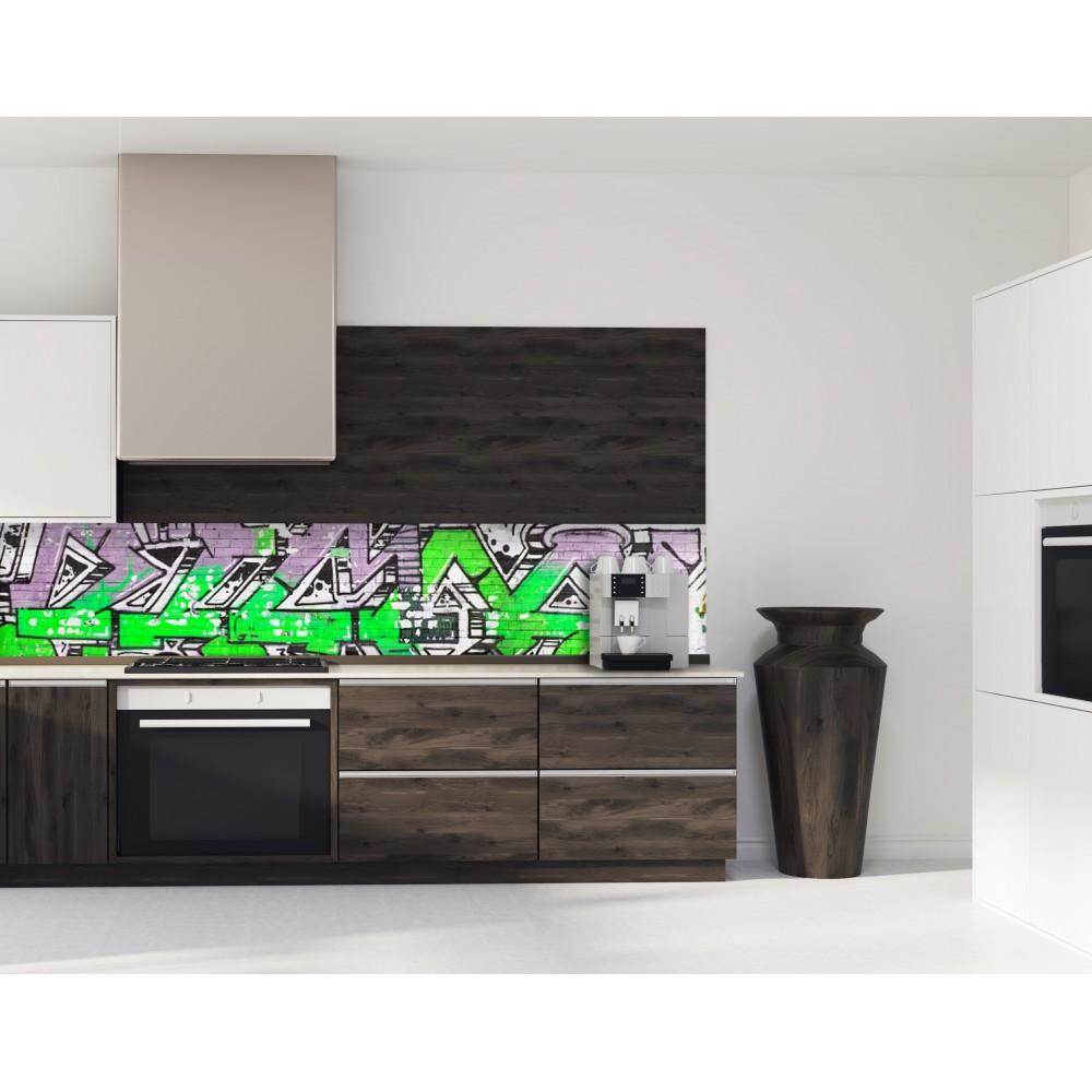 cr dence street graffiti verre et alu credence cuisine deco. Black Bedroom Furniture Sets. Home Design Ideas