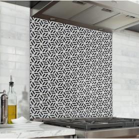 """Fond de hotte de cuisine """"Motif géométrique monochrome"""""""