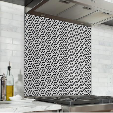 Fond de hotte avec motif géométrique monochrome noir & blanc