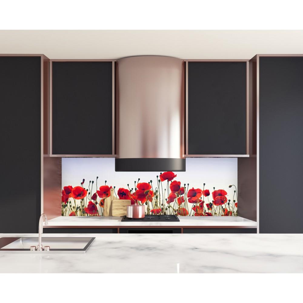 cr dence champs de coquelicots verre et alu credence cuisine deco. Black Bedroom Furniture Sets. Home Design Ideas