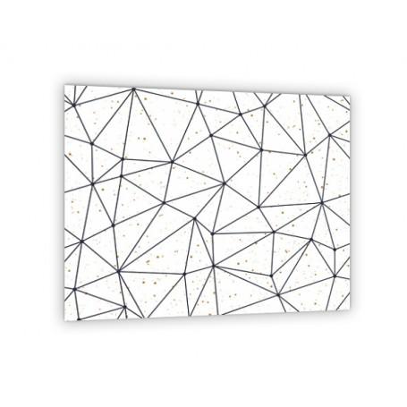 Crédence de cuisine motif polygonal blanc