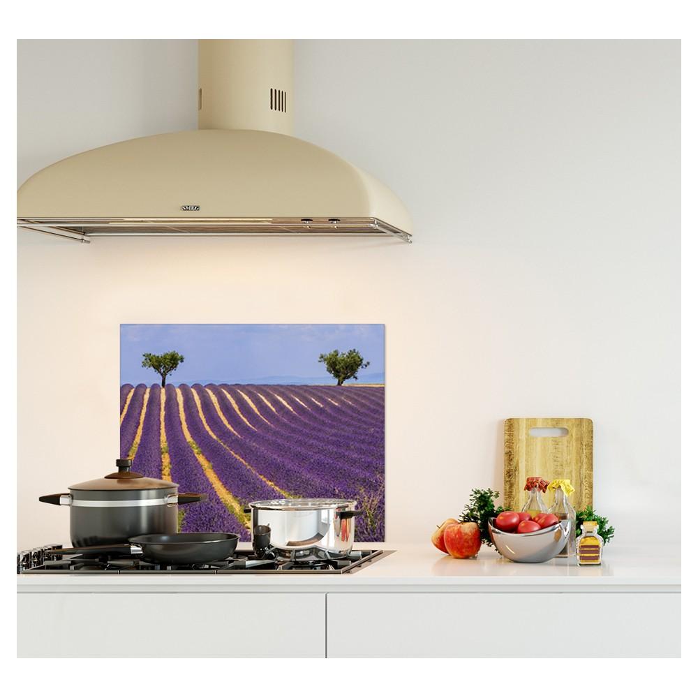 cr dence champs lavande violet verre et alu credence cuisine deco. Black Bedroom Furniture Sets. Home Design Ideas