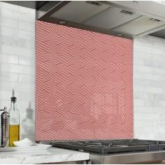 Fond de hotte motif géométrique zigzag rouge et blanc