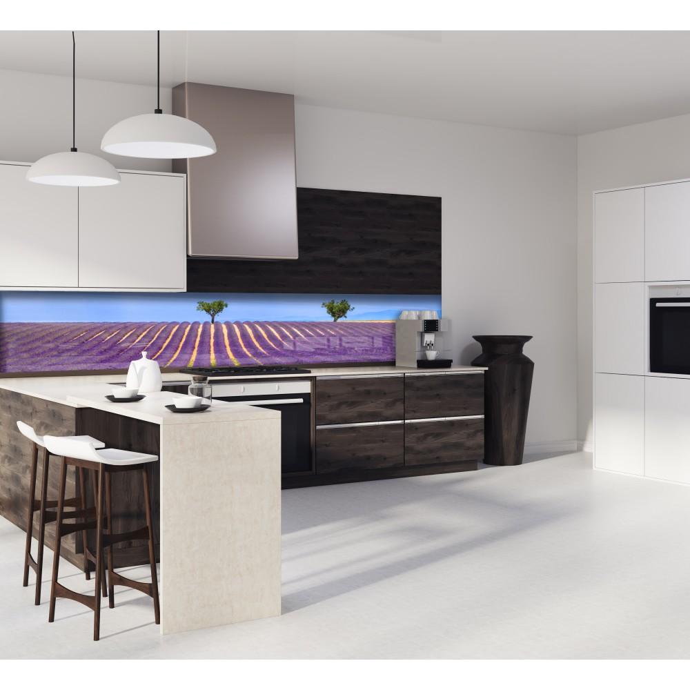Cr dence champs lavande violet verre et alu credence cuisine deco - Deco cuisine violet ...