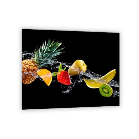 Crédence de cuisine noire avec fruits : banane ananas kiwi pomme