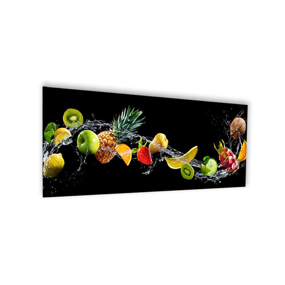 Cr dence noire fruits exotiques verre et alu credence cuisine deco - Credence de cuisine conforama ...