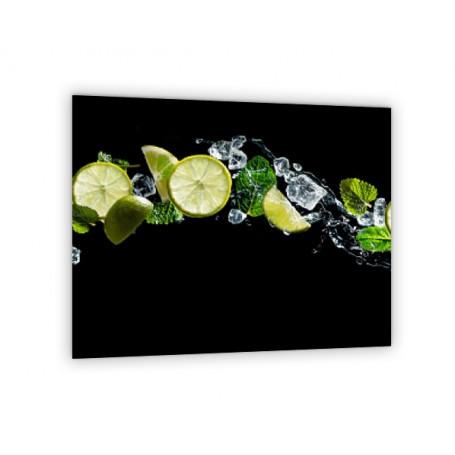 Crédence de cuisine fond noir citron vert et menthe