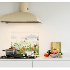 Crédence de cuisine illustration champ floral : papillon fleur nuage soleil